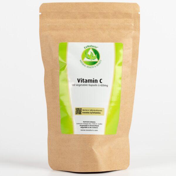 100% Natürliches Vitamin C (180 Kapseln à 420mg) aus Acerolakirschen (Nachfüllbeutel)